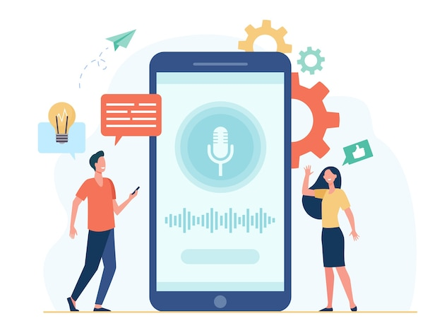Personas con teléfonos móviles que utilizan software de asistente de voz inteligente. hombre y mujer junto a la pantalla con micrófono y ondas sonoras. para grabación de sonido, interfaz de aplicación, concepto de tecnología ai