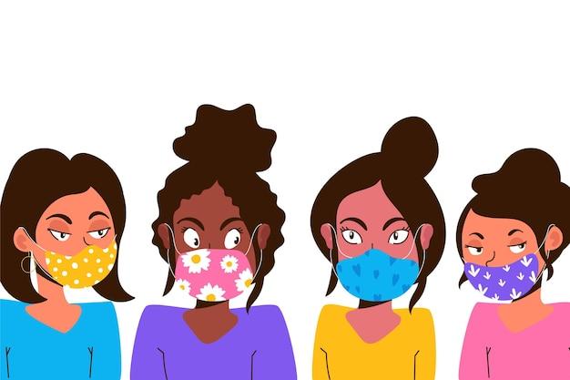 Personas con tema de máscaras faciales de tela