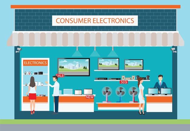 Personas en la tienda de electrónica de consumo.