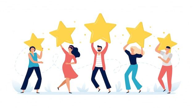 Las personas tienen estrellas de calificación. comentarios de los clientes, calificaciones de las elecciones de los clientes y satisfacción de los clientes revisan la ilustración vectorial