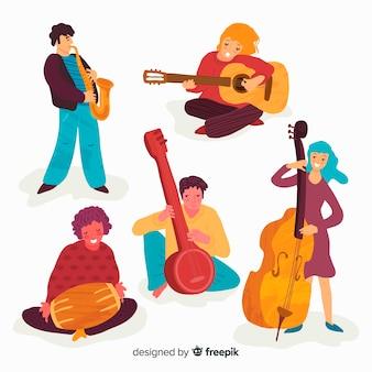 Personas tocando instrumentos musicales