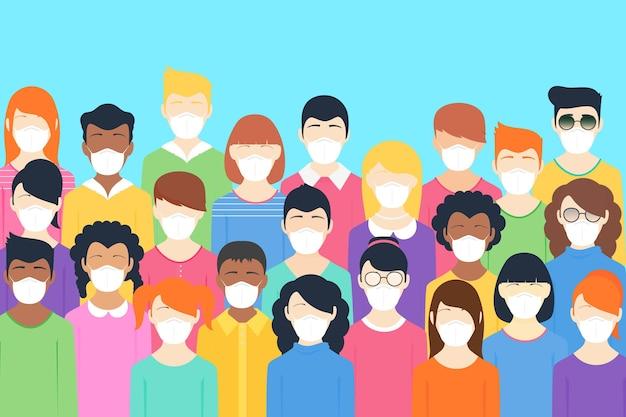 Personas de todas las nacionalidades con máscaras.