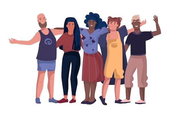 Personas tomadas de la mano abrazándose y parados juntos