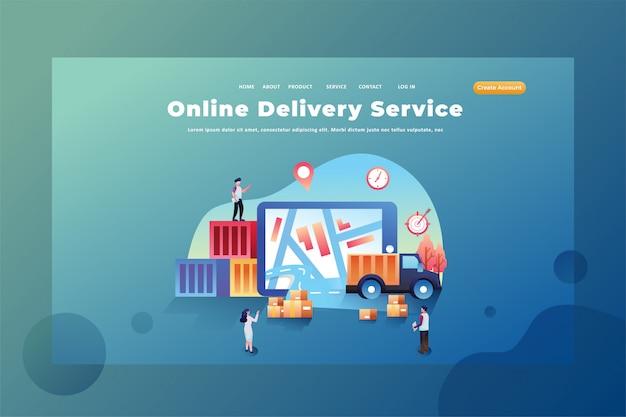 Estas personas trabajan como servicios de entrega en línea ilustración de plantilla de página de destino de encabezado de página web de entrega y carga