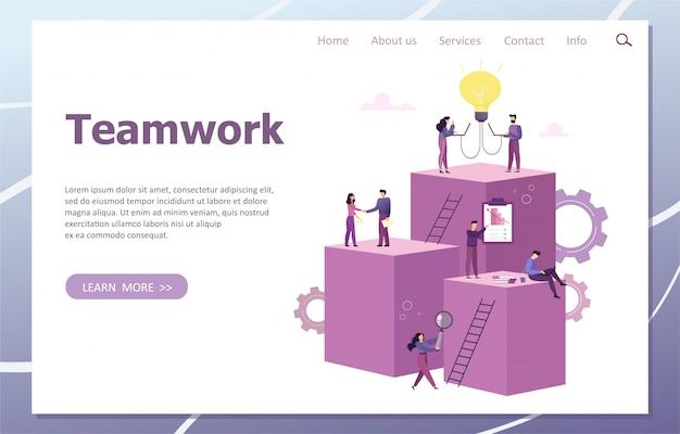 Las personas trabajan en equipo e interactúan con los horarios. negocios, gestión de flujo de trabajo y situaciones de oficina. plantilla de página de destino. desarrollo de una nueva idea. ilustración.