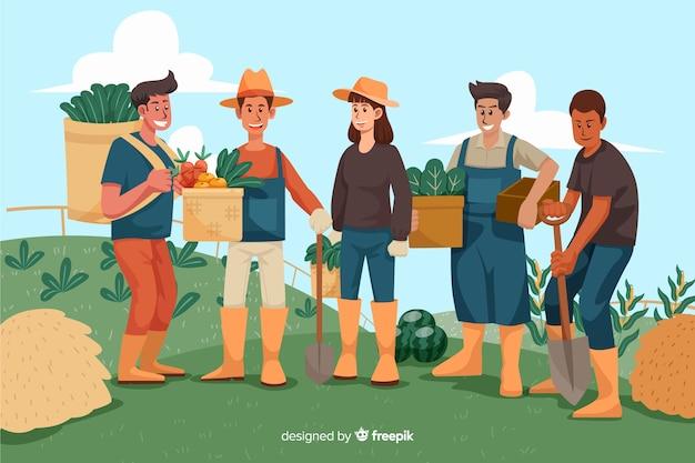 Personas trabajando juntas en la granja