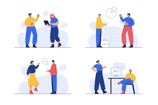Personas en el trabajo en diferentes escenas.
