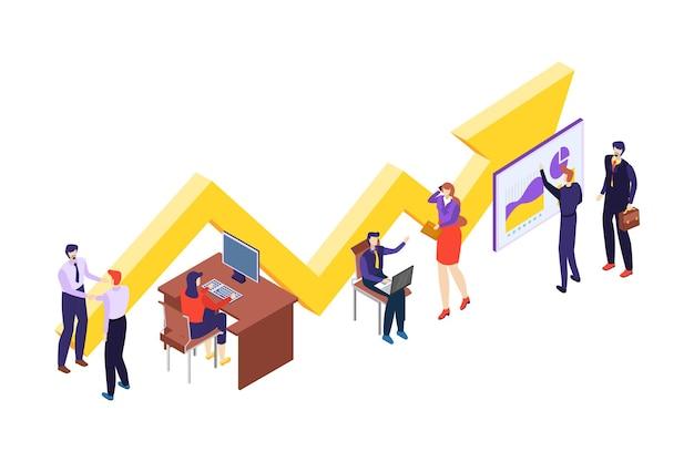 Personas trabajo en equipo carácter trabajando espacio de oficina