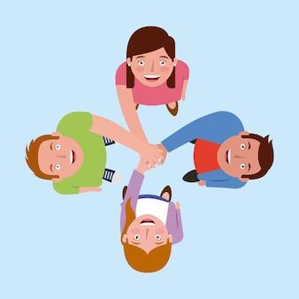 Personas trabajo en equipo juntos