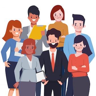 Personas de trabajo en equipo de negocios de pie a la reunión. hombre de negocios y mujer de negocios en carácter de traje de vector.