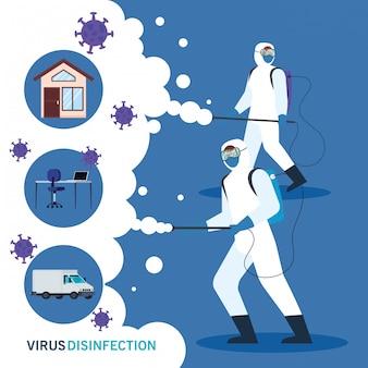 Personas con traje de protección para rociar el covid-19, desinfectar casa y escritorio con vehículo