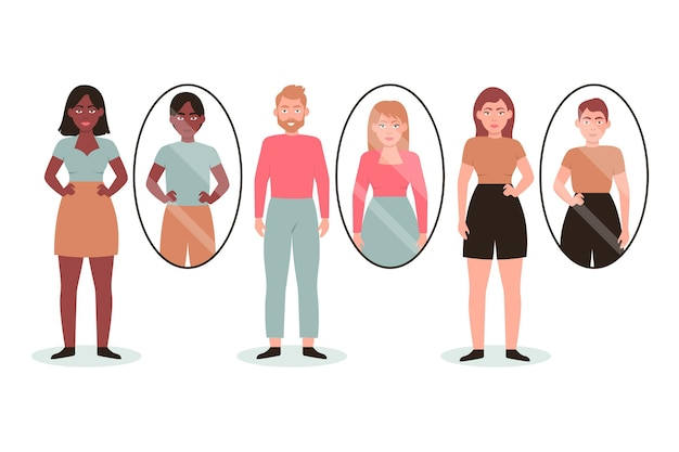 Personas transgénero planas ilustradas.