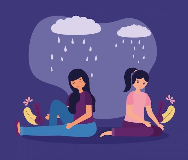 Personas trastorno mental psicológico deprimido