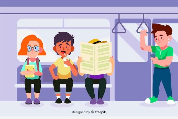 Personas usando el metro
