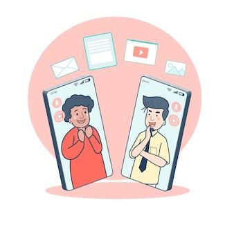 Las personas utilizan las reuniones en línea a través de teléfonos inteligentes para prevenir infecciones