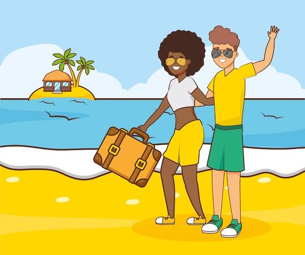 Personas vacaciones en la playa