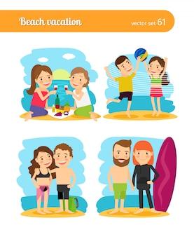 Personas en vacaciones de playa