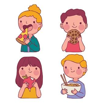 Personas con varios alimentos y bebidas.