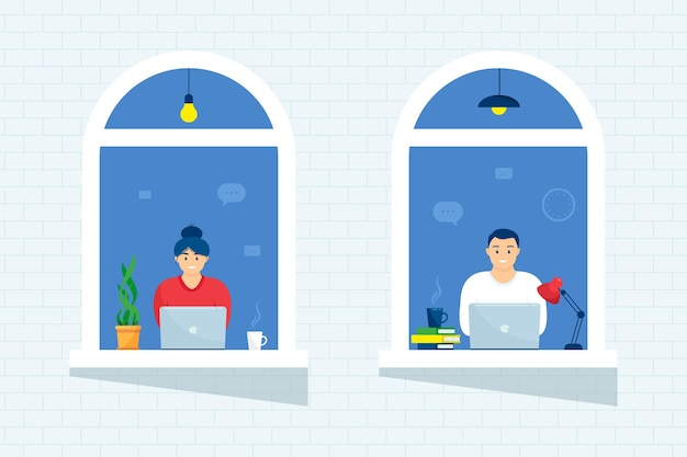 Las personas en las ventanas de la casa miran fuera de la habitación o el apartamento, trabajan en una computadora portátil, las personas del concepto se sientan en casa, trabajan, estudian y descansan. aislamiento en casa. cierre de emergencia.