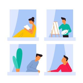 Personas en ventanas durante la cuarentena