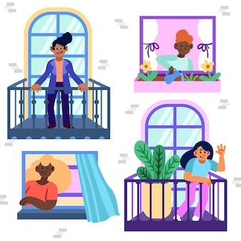 Personas en ventanas en cuarentena