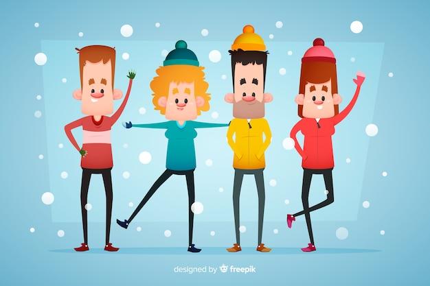 Personas vestidas con ropa de invierno y quedándose en la nieve.