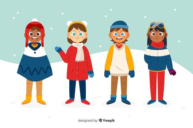 Personas vestidas con ropa de invierno