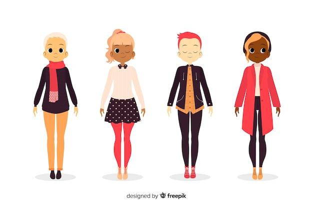 Personas vestidas con ropa de otoño ilustrada