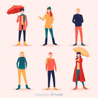 Personas vestidas con ropa de otoño