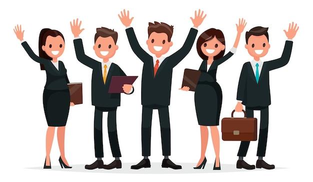 Personas vestidas con un traje de negocios con las manos en alto
