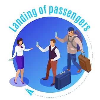 Las personas de viaje alrededor del empleado del aeropuerto ilustrado que controla el aterrizaje de los pasajeros del avión isométrico