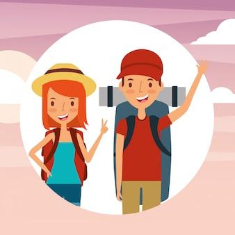 Personas viajeros vacaciones