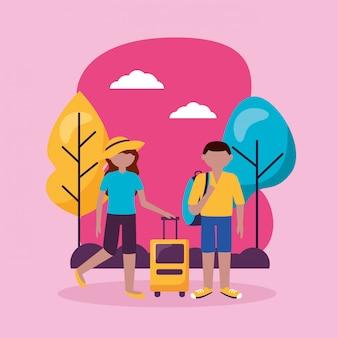 Personas y viajes en estilo plano
