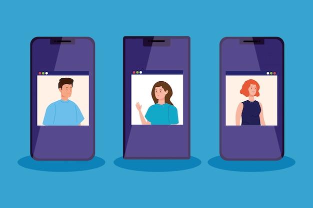 Personas en videoconferencia en teléfonos inteligentes