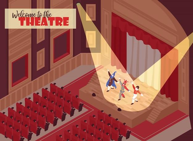Personas viendo la actuación en la sala de teatro de ópera isométrica 3d