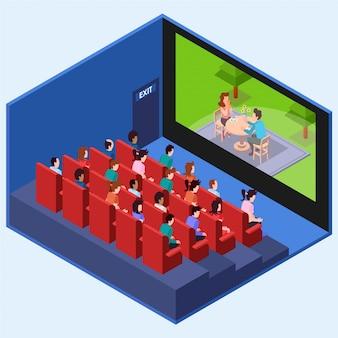 Personas viendo una película romántica en el cine. ilustración isométrica.