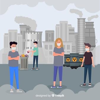 Personas viviendo en una ciudad llena de contaminación
