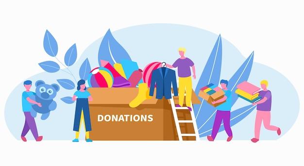 Personas voluntarias con caja de donación de ropa, caridad, ayuda social en la comunidad.