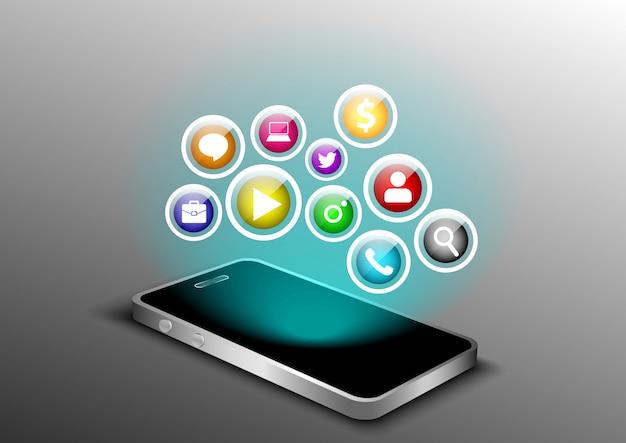Perspectiva 3d de smartphone smartphone en blanco