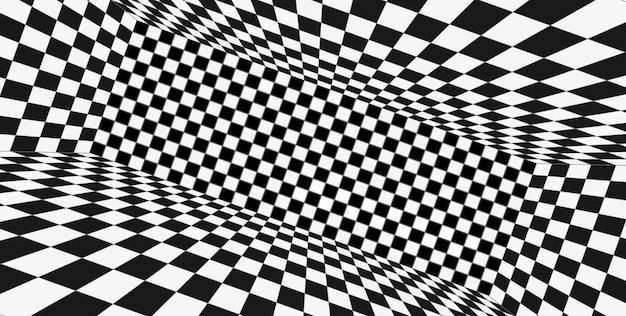 Perspectiva de cuadrícula en blanco y negro. fondo de estructura metálica de ajedrez. modelo de tecnología digital cyber box. plantilla de ilusión abstracta de vector