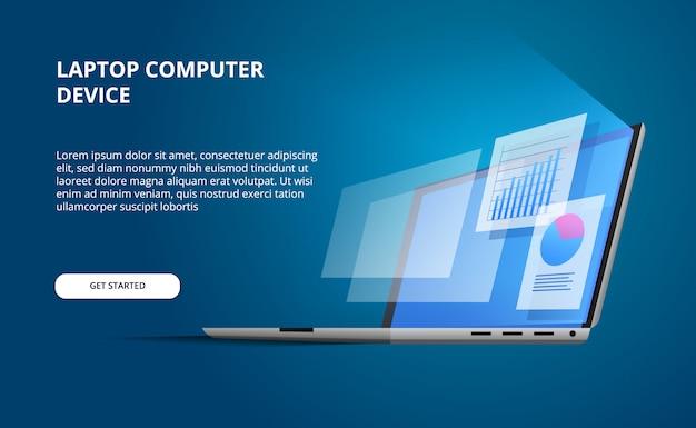 Perspectiva isométrica 3d dispositivo portátil abierto con pantalla brillante. visualice la computadora con estadísticas de gráficos circulares de visualización de datos e infografías