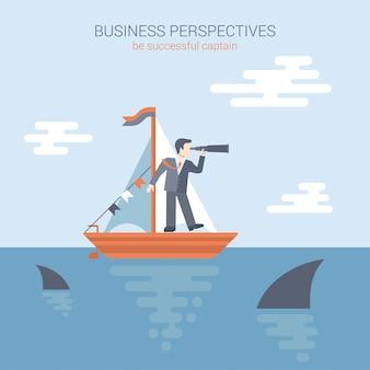 Perspectivas de negocio, concepto de estilo plano de competencia. el hombre de negocios se coloca en el yate que mira a través del catalejo en el futuro en el océano que rebosa de la ilustración de los tiburones depredadores.