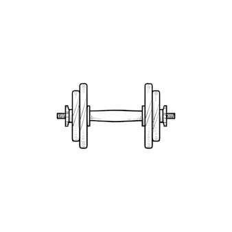 Pesa de gimnasia para el icono de doodle de contorno dibujado a mano de gimnasio. levantamiento de músculos, mancuernas de fitness, concepto de equipo de gimnasio