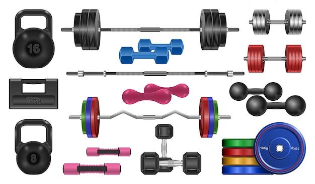 Pesa de gimnasia realista conjunto de iconos. barra de ilustración sobre fondo blanco. aislado realista conjunto icono pesa de fitness.