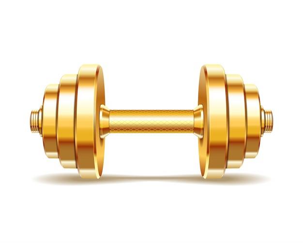 Pesa de gimnasia realista dorada sobre fondo blanco. realista.