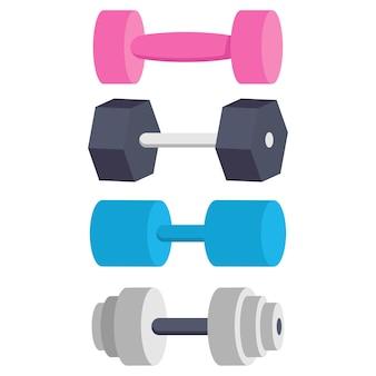 Pesas de gimnasia para ejercicio conjunto de dibujos animados aislado en un fondo blanco.