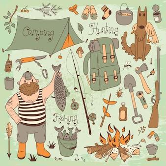 Pesca, caza, set de acampada.
