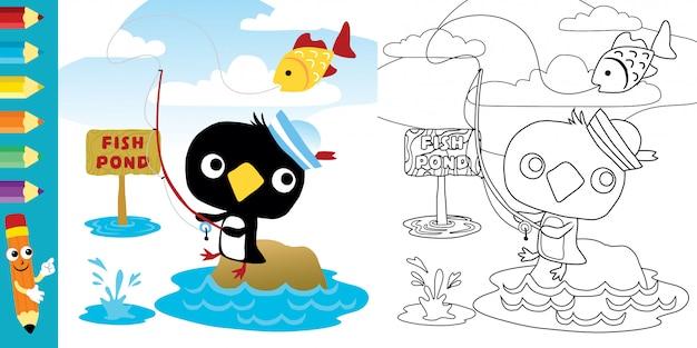 Pesca de dibujos animados lindo pingüino