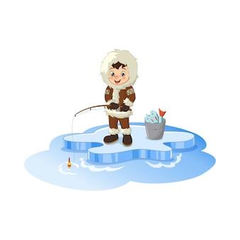 Pesca esquimal ártico de dibujos animados en témpano de hielo