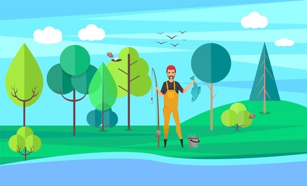 Pesca masculina, pescador sosteniendo lucio, vector de hobby